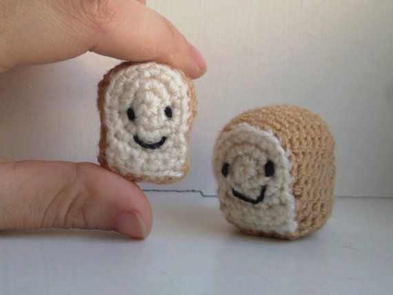 Kawaii Bread Loaf  Slice ,, cute mini amigurumi crochet food plushies Crochet Food