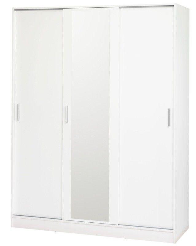 Focus Garderobeskab - Stort hvidt garderobeskab med 3 smarte skydelåger med diskrete metalgreb. Den midterste skydelåge er beklædt med et stort praktisk spejl. Inde i skabet finder du et stort bøjlerum samt 4 hylder. Den øverste hylde er bred og kan med fordel bruges til opbevaring af f.eks. skokasser.