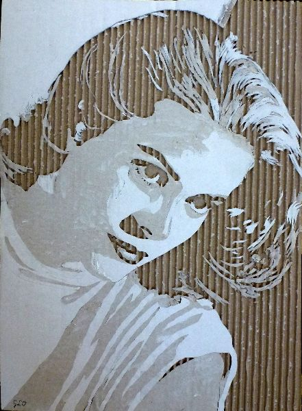 """Grace Kelly"" Cardboard Relief Portrait - by Giles Oldershaw;  ""From a piece of corrugated cardboard [the artist will] remove layers to make shadows – which define the image."""