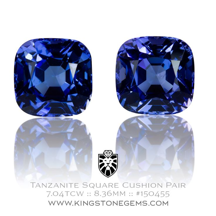 Tanzanian Blue Tanzanite Cushions - 7.04ct - 8.36X8.41X6.24mm - SKU# 150455 - The finest tanzanites are available from our collection of beautiful precious gems.