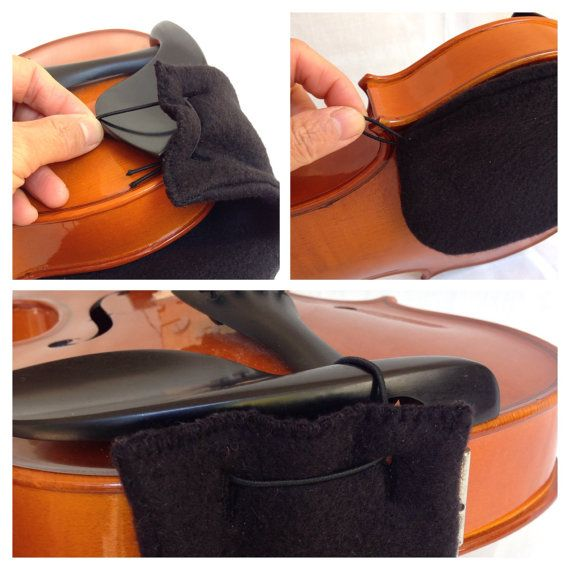 New Comfortable Design for Violin Shoulder Rest Pad - Fit 3/4 or 4/4 in Black Fleece. Suitable for violists who play without a chin rest cover or a shoulder rest. Or also for violist with shoulder rest too, the design is mostly try to cover the chin rests metal clamp. No need to take it off when put violin in the case. Material: - 2 layers of soft Fleece fabric - round cord elastic How to put it on: Put long black round cord elastic wrap the chin rest to securely to violin, and pull the…