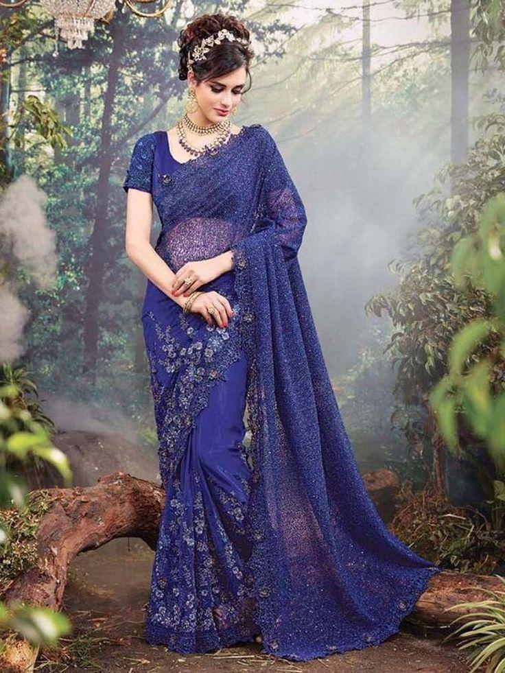 Indian bridal wedding designer sarees party wear heavy embroidered saree blouse #Handmade #SareeSari