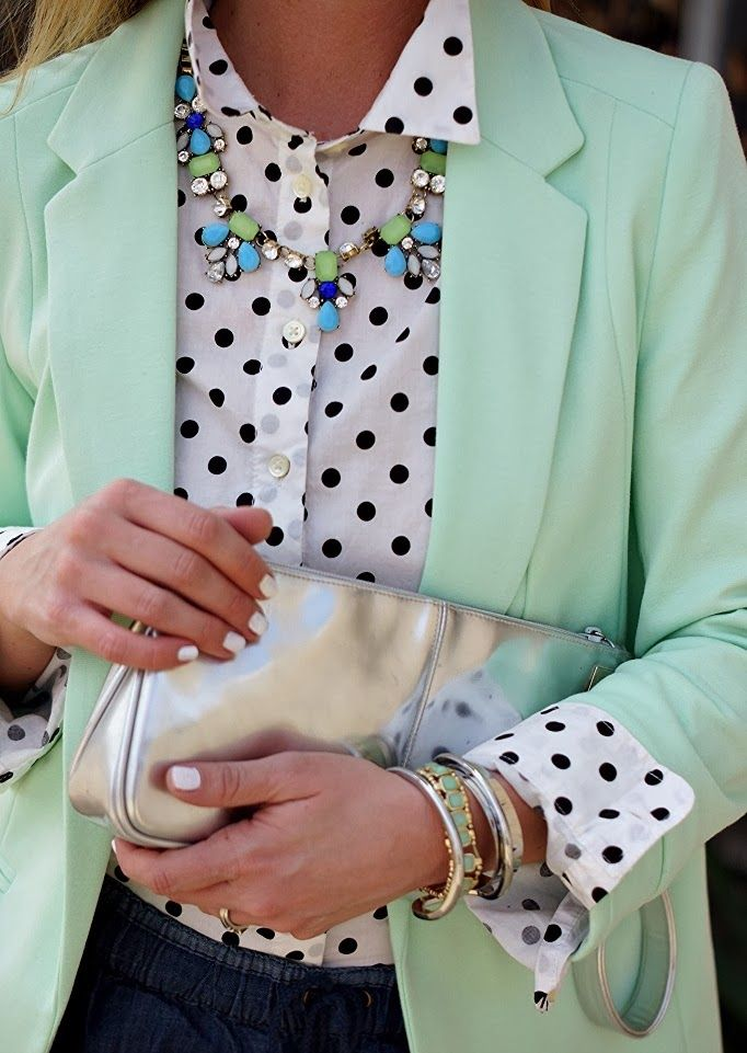 I love the it all - the mint blazer, polka-dot blouse and pretty bling! Simply fabulous!