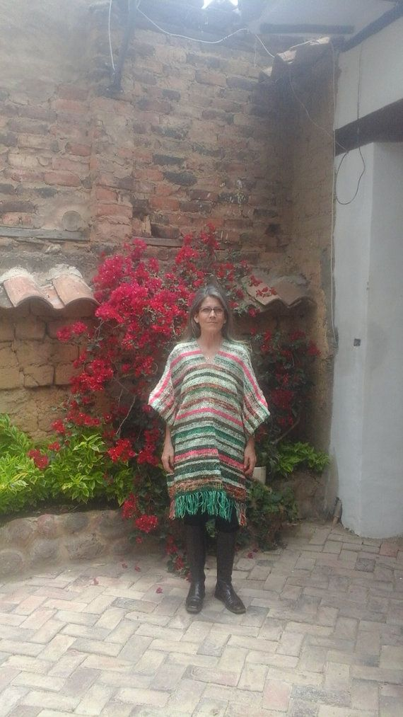 Hand-loomed Poncho / 100% Pure Wool / Multicolor / by CasaLunaCo