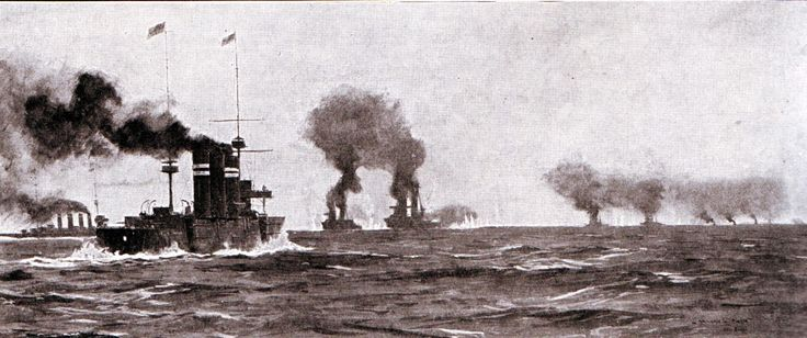 Opening stage of the Battle of the Falklands 8th December 1914. The action is foreshortened, German ships in the distance far right; Invincible and Inflexible centre; Glasgow left and Cornwall centre left. http://www.britishbattles.com/battle-of-the-falkland-islands/.