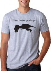 T-Rex Hates Pushups T-Shirt Funny Dinosaur Shirt (Grey)