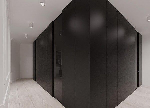 Contemporary Neutral Interior Design Presenting Elegant Look: Adorable Large Wardrobe With Modern Door Units Dazzling Ceiling Lights Warm Wood Floor White Painted Wall ~ SFXit Design Interior Inspiration