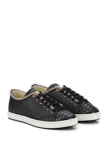 STOKTON - Sneakers - Donna - Sneaker in pelle effetto pitone con catena su profilo e suola in gomma. Tacco 20. - NERO