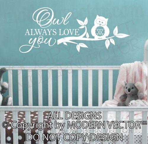 OWL ALWAYS LOVE YOU Vinyl Wall Decal Lettering Nursery Girls Boys Tree