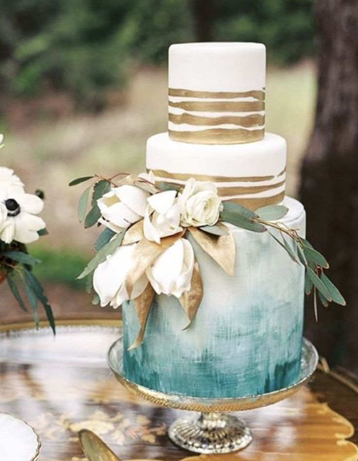 Gold and Dusty Blue Wedding Cake......For Maternity Inspiration, Shop here >> http://www.seraphine.com/us | wedding themes | spring wedding ideas | wedding ideas | style chic | spring wedding venues | beautiful colors | beautiful themes