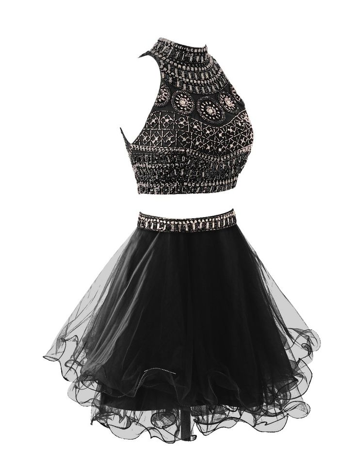 Wedtrend Women's Short Two Pieces Homecoming Dress with Beads Party Dress WT10157 Black 2