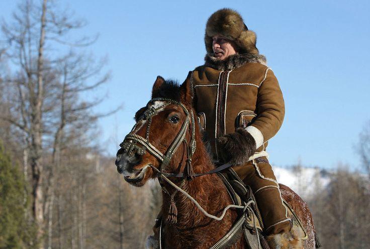 Vladimir Putin taking a horseback ride