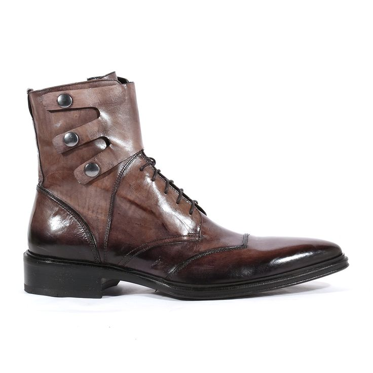 Jo Ghost Italian Mens Shoes Inglese Moscato Grey Leather Boots (JG2106)