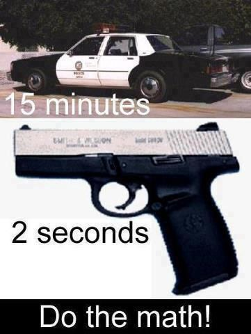 gun humor more like an hour for the police to get out here for us when it should only take15mins