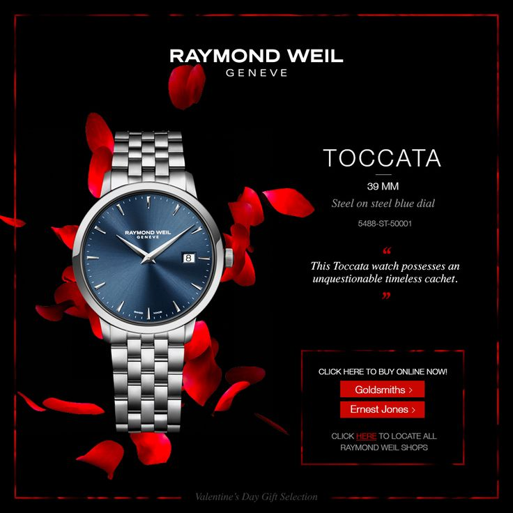 This 39mm Toccata watch, steel on steel blue dial, possesses an unquestionable timeless cachet. Buy online now!  Goldsmiths: http://rwg.li/15jx5NG Ernest Jones: http://rwg.li/15DpEC1