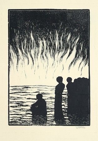 More / sea (ČESKÁ GRAFICKÁ MODERNA) - drevoryt / woodcut - Frantisek Kobliha (1877-1962, Czechoslovakia)