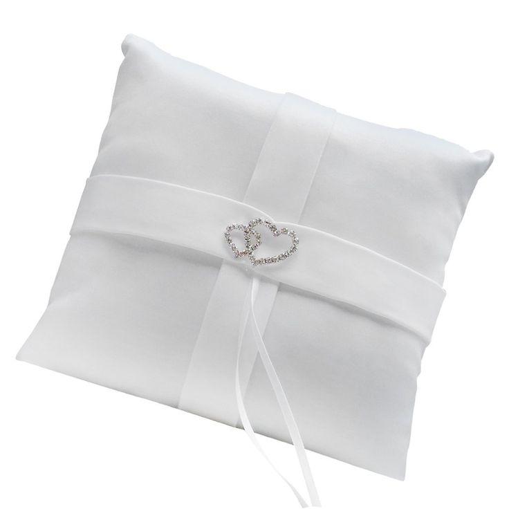 Bianco Doppio Diamante Cuore Anello Cuscino Di Nozze Portatore Cuscino: Amazon.it: Gioielli