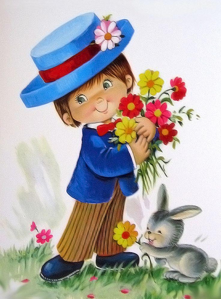 Домашних, открытки малыш с цветами