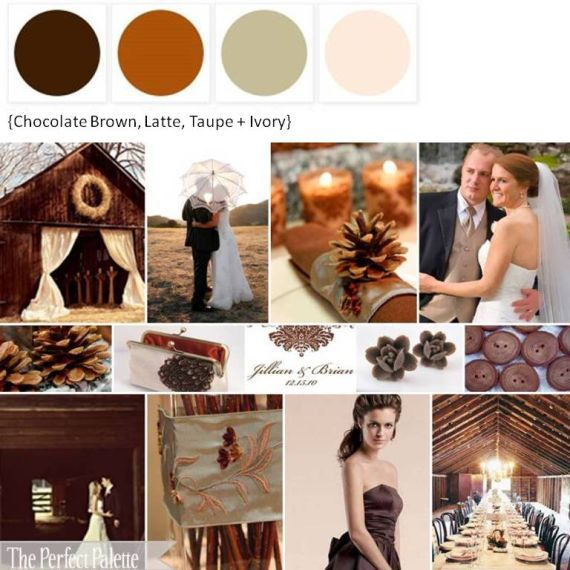 Chocolate Brown, Copper, Taupe + Ivory Wedding Color Board (minus the blush and add a mustard yellow) Vintage-Country-Romantic