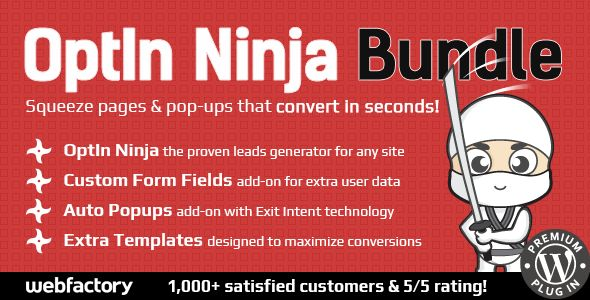 OptIn Ninja Bundle - Powerful Lead Generation System . OptIn has features such as High Resolution: Yes, Compatible Browsers: IE10, IE11, Firefox, Safari, Opera, Chrome, Edge, Software Version: WordPress 4.6, WordPress 4.5.x, WordPress 4.5.2, WordPress 4.5.1, WordPress 4.5, WordPress 4.4.2, WordPress 4.4.1, WordPress 4.4, WordPress 4.3.1, WordPress 4.3, WordPress 4.2