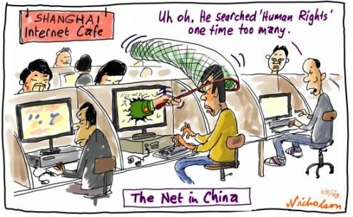 The inter 'net'. The real 'net' in China, that is catching citizens in their attempts to access web and social media sites and discuss topics frowned upon by governments.