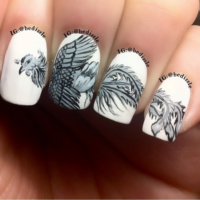 OMG i know it isn't a tattoo but i'm in love with this! - Nail arts by  Bedizzle, Chinese dragon and Phoenix - 379 Best Funny Nail Art Images On Pinterest Make Up, Nailart And