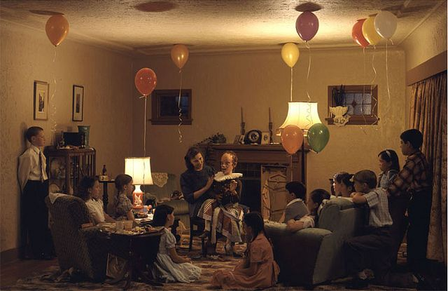Jeff Wall, A ventriloquist at a birthday party in October 1947