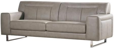 "Vera VERASOSS 83"" Sofa with Metal Legs Chrome Accents Attached Seat/Back Cushions and Leatherette Upholstery in Sandstone Color"