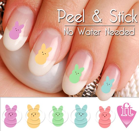 Easter Bunny Peeps Candy Nail Art Decal by TheFinderthings1