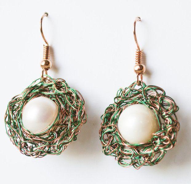 Dangle Earrings – Wire crochet earrings Hoop dangle Freshwater Pearl – a unique product by unikacreazioni-artisan on DaWanda