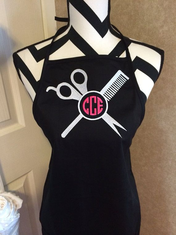 comb and shears monogrammed apron