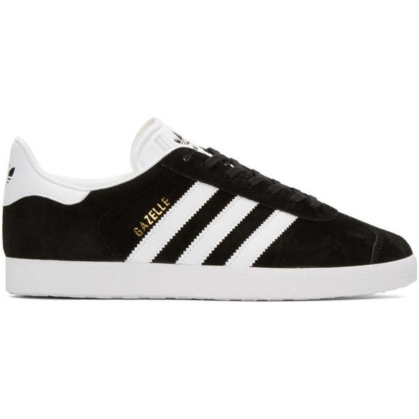 adidas Originals Black Gazelle Sneakers ($81) ❤ liked on Polyvore featuring shoes, sneakers, black, low profile sneakers, black sneakers, lace up shoes, black trainers and black leather trainers