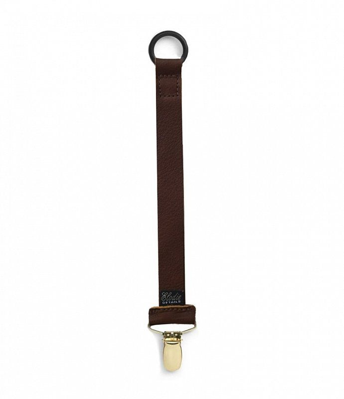 """ELODIE DETAILS Pacifier Clip/ Holder, Genuine Leather """"LEATHER BROWN"""""""