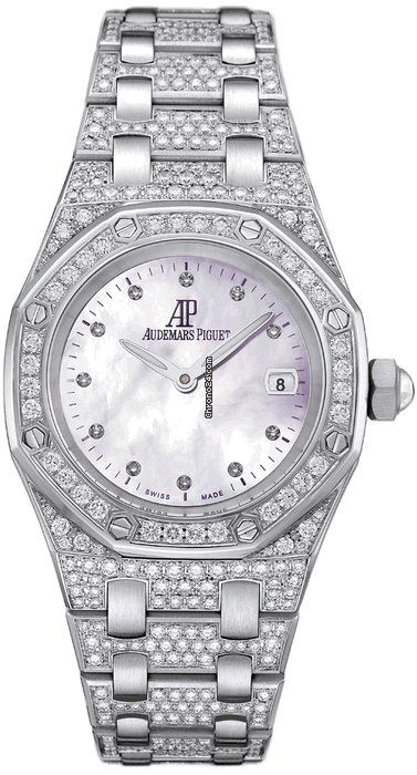 Audemars Piguet Royal Oak Diamond Mother of Pearl Dial Diamond and White Gold Ladies Watch $74,374 #hologram #watches #trend