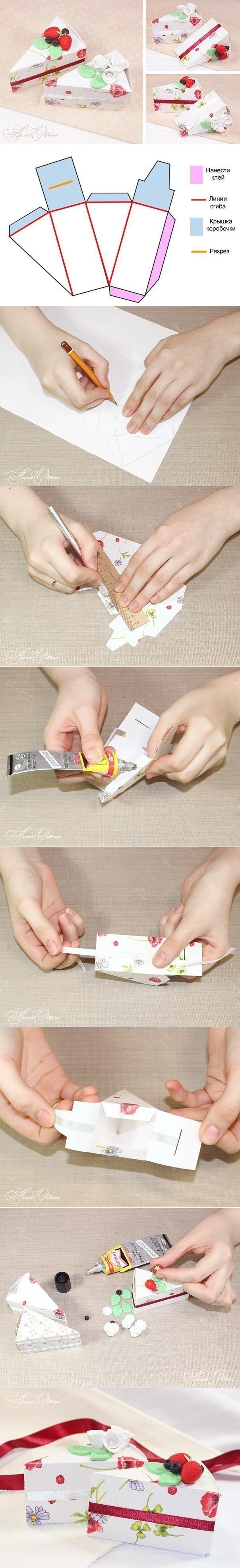 caja en forma de porción de queque