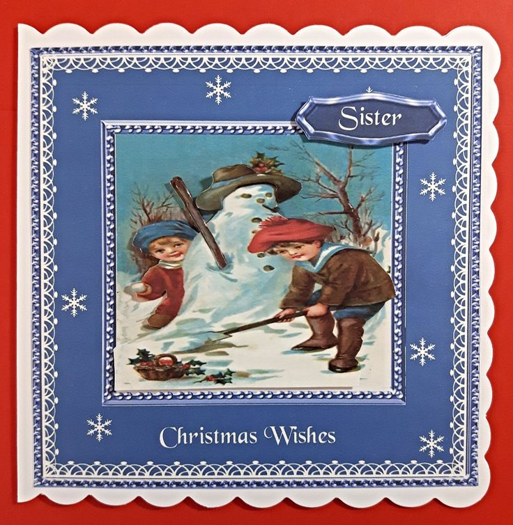 Handmade Christmas Card for Sister with vintage winter scene