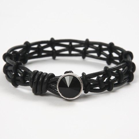 12981 A Bracelet made from Leather Cords with Silicone Stop Rings
