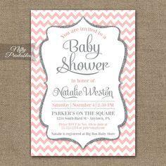 Pink Gray Baby Shower Invitations - Printable Blush Pink Silver Glitter Girl Baby Shower Invites - Pink White Chevron Invitation - PCH