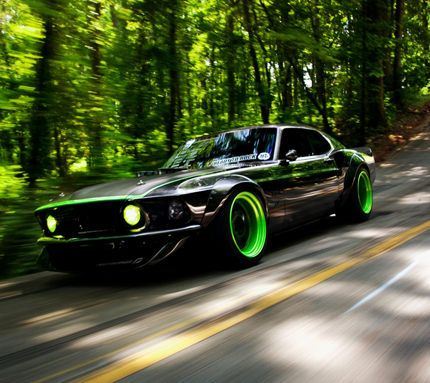 Ford Mustang with lime green accents/rims. Love the green idea! Zeckford.com #ZeckFord #MustangMonday
