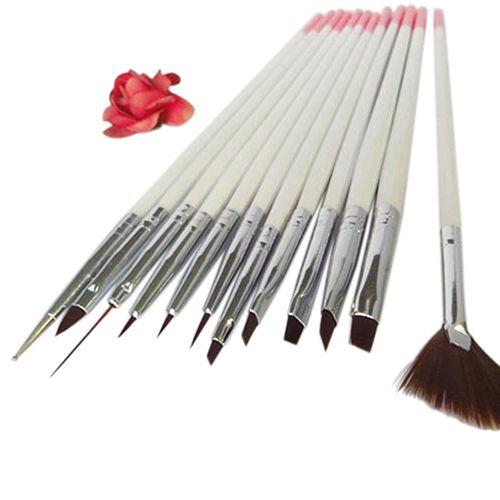 2016 New 12x Nail Art Polish Painting Draw Pens Brush Tips Tools Set UV Gel Nail Brushes 4RT