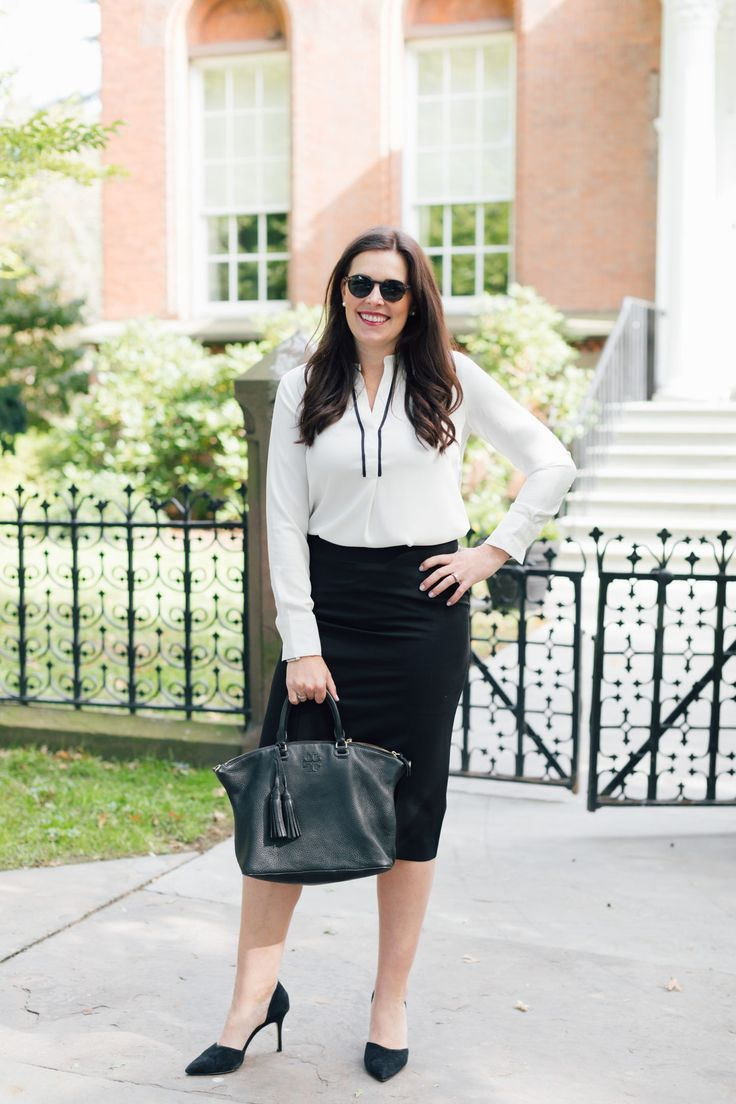 Goede A Piped Tunic Blouse & Pencil Skirt for the Office - Hard Alee FH-75