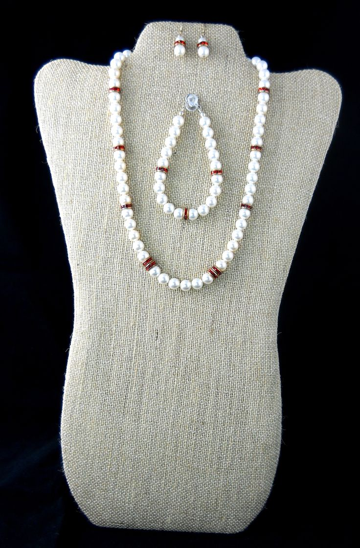 Swarovski Pearls with Red Accents