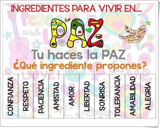 "Cartel ""Ingredientes para vivir en Paz"""