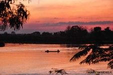 Sunset over Mekong river in Laos.