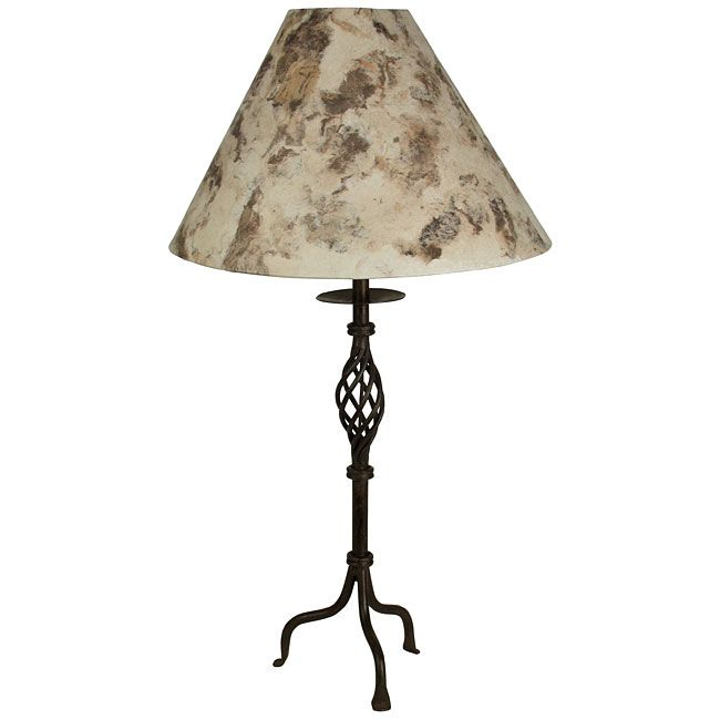 Skinny Twisted Wrought Iron Table Lamp With Bark Paper Shade