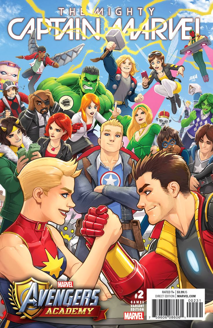 AVENGERS ACADEMY variant cover for Captain Marvel No.2 by David Nakayama - Visit to grab an amazing super hero shirt now on sale!