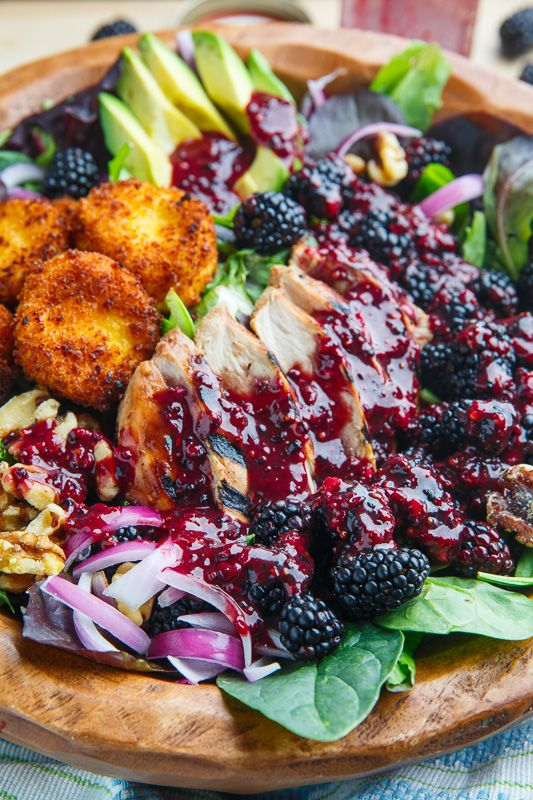 Blackberry Balsamic Grilled Chicken Salad with Crispy Fried Goat Cheese. The goat cheese seriously puts it over the edge for stunning your guests!