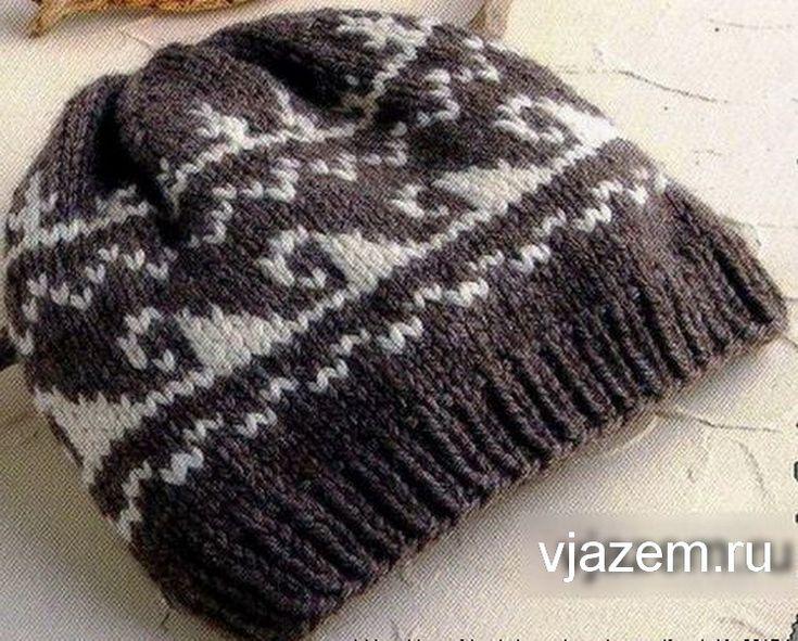 мужская шапка спицами, мужская шапка спицами схема