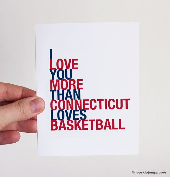 March Madness UConn Basketball Card I Love You by HopSkipJumpPaper, $3.75.  Use coupon code PIN10 for 10% off your purchase!