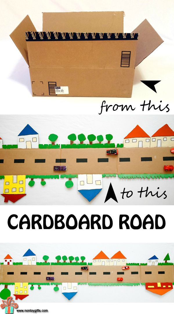 A cardboard town made from a box is a fun DIY toy to make for kids. Cut out trees and houses on the outer edges and paint them in vibrant colors. Let the kids do the painting and turn it into a fun craft for toddlers and preschoolers. Ride your car pretend play| at Non Toy Gifts